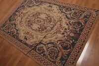 "4'6""x 6'9"" Hand Woven French Needlepoint Aubusson 100% wool area rug"