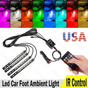 RGB LED Car Interior Floor Decorative Atmosphere Strip Lamp Lights 36LED Kit