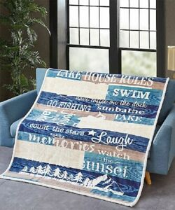 New Flannel Lake House Luxury Sherpa Gift Plush Throw Blanket Fishing Outdoors