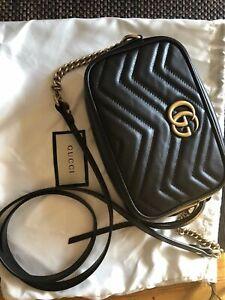 //Gucci //GG** Marmont** Matelasse Mini** Bag handbag Crossbody Chain Black Gold