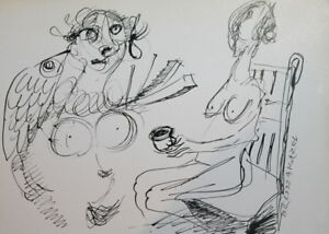 1992 - INK DRAWING ABSTRACT NUDE WOMEN PORTRAIT SIGNED