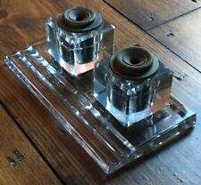 Antique Art Deco Sengbush Glass Inkwell Holder Desk Set