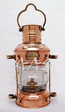 "Nautical Maritime Ship Lantern 14"" Brass & Copper Anchor Oil lamp Boat Light"