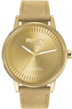 PUMA Watch Wrist Band Unisex Suede Monochrome Beige Leather PU104101009