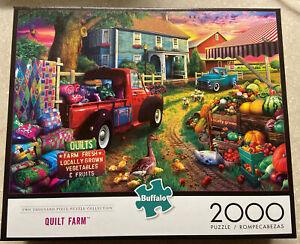 🟢 ***RARE*** Buffalo Games Quilt Farm 2000 Piece Jigsaw Puzzle New Sealed
