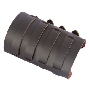 PU Leather Metal Smooth Studded Gauntlet Wristband Wide Bracer Arm Armor Cuff