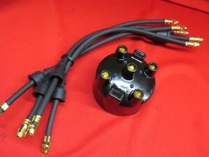 1928-34 Ford 4cyl Model A B Modern distributor cap and plug wires A-12105-M