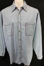 Vintage LEVI'S RED TAB Long Sleeve Button Front DENIM JEAN Shirt M