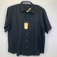 Tommy Bahama Mens XL  Black Striped 100% Linen Button Up S/S Shirt NWT's(K35)
