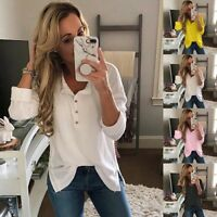 Women Long Sleeve Loose V-Neck Pullover Sweater Jumpers Knitted Tops Blouse NEW
