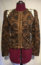 Aritzia Wilfred Quilted Black Jacket Sz 0 Blazer Zipper Front Brown Cream