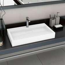 vidaXL Wash Basin 80cm Mineral Cast/Marble Cast White Countertop Bathroom Sink