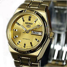 New LADIES SEIKO 5 AUTOMATIC CASUAL DRESS GOLD TONE SYM600K1
