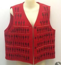 KARAVAN Boiled WOOL Red Black EMBROIDERED Art Vest Button Up Lined Size L