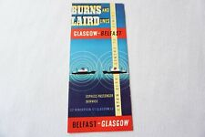 More details for 1960 burns & laird lines glasgow to belfast irish shipping timetable