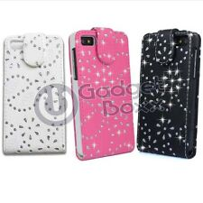 CASE FOR BLACKBERRY Z10 BLING DIAMANTE GLITTER FLIP LEATHER POUCH PHONE COVER
