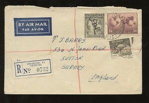 AUSTRALIA 1951 REGISTERED AIR..PLATYPUS + BOTH HERMES FRANKING BRIGHTON VICTORIA