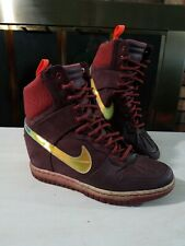 Nike Dunk Sky Hi Wedge Sneakerboot 2.0 Womens Size 8 Shoes Burgundy 684954-600