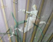 LARGE 19TH C VICTORIAN FAN PAINTED ON SILK