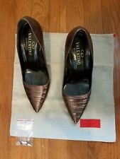 Valentino Garavani pleated toe python brown pumps size 37.5