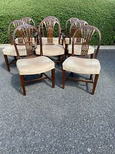 Set of eight George III style Hepplewhite mahogany dining chairs with armchairs