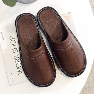Unisex Synthetic Faux Leather Scuff Slippers Comfy Home Slipper Casual Footwear