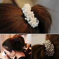 KQ_ Elegant Women Faux Pearls Beads Hair Band Rope Scrunchie Ponytail Holder