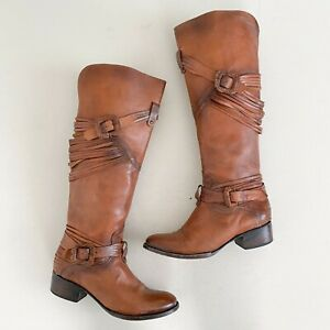 Freebird by Steven Size 9 Cognac Brown Leather Tall Stela Harness Riding Boots