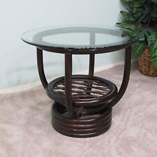 Premium Rattan End Side Table Dark Brown Finish (Delivered Fully Assembled)