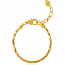 GORGEOUS GIRLS GOLD PLATED LOBSTER SNAKE CHAIN BRACELET.SUITABLE EUROPEAN CHARMS