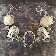 Offerings Sajen Ss Purple Fiber Optic, Repousse, Mother of Pearl Buddha Bracelet
