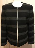 TAHARI Arthur S Levine Striped Charcoal Gray Womens Blazer Jacket Coat Size 14