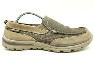 Skechers Relaxed Fit Brown Knit Leather Casual Slip On Loafers Shoes Men's 9 EEE