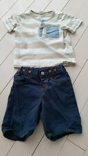 H&M BABY BOY SET OF 2 STRIPE SHIRT AND SHORTS 12-18 MONTHS