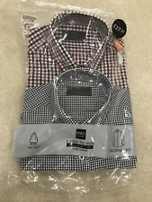 M&S Mens 2 Pack Long Sleeve Shirts 14.5 Inch Collar £27.50 Check Easy Iron