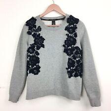 Scotch & Soda Maison Scotch Grey Marl Sweatshirt Lace Top Womens Small 8 10