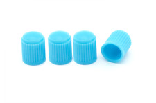 4 x Baby Blue PLASTICA DUST CAPS Suit standard pneumatico VALVOLE auto, furgone, moto, bmx