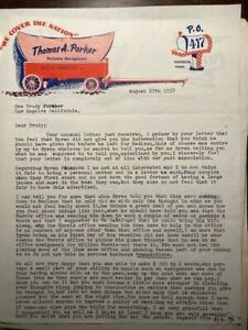 ELVIS PRESLEY   COLONEL LETTER DURING ELVIS ARMY TOUR