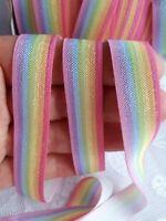 3 M Foe Fold Over Elastic Ribbon Headbands Crafts Sew Rainbow Dress UK 16 MM