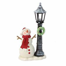 Hand Painted Snowman with Light Up Lampost Christmas Ornament XM814