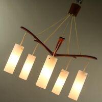 Decken Pendel Leuchte Teak Holz & Glas Hänge Lampe Dänemark  50er 60er Jahre VTG