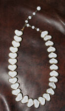 Vintage White Thermoset Hearts Necklace