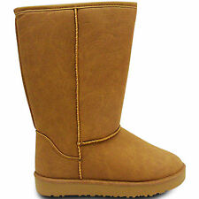 NEW WOMENS LADIES FUR LINED PLAIN SNUGG FLAT CALF ANKLE BOOTS WINTER SNOW SIZE