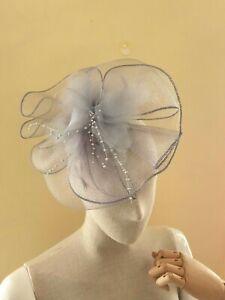 Wedding Fascinator Silver Grey