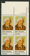 #1941 20c John Hanson, Plate Block [11111 UR] Mint **ANY 4=FREE SHIPPING**