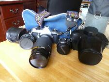 Pentax ME Super Camera 35 mm with 2  Lens, tele converter Bag  Kiron