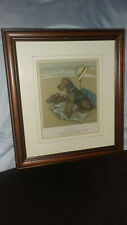 "Vintage Airedale Terrier print by Vernon Stokes, matted and framed-8.5"" x 6.5"""