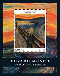 Ghana- Edvard Munch 150th Birthday Stamp- Souvenir Sheet MNH