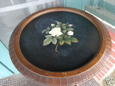 ANTIQUE PIETRA DURA MOSAIC FLORAL ROSE INLAID WOOD PLANT STAND TABLE TWIST LEGS