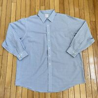 Brooks Brothers 346 Long Sleeve Button Up Blue Striped Shirt Mens Size 18 (XXL)